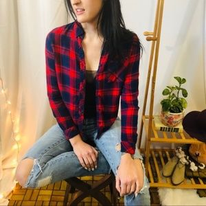 BeachLunchLounge Red Blue Plaid Flannel Button Up